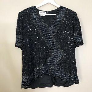 Vintage 80's Black Beaded Sequins Blouse Top Shirt